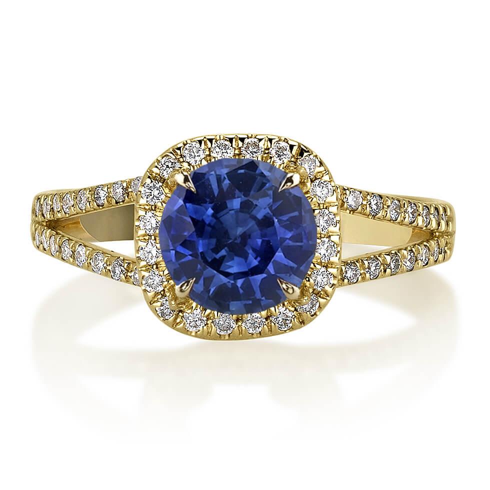 טבעת יהלומים עם ספיר